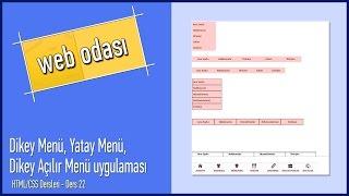 HTML CSS Dersleri Ders 22 Dikey Menü Yatay Menü Dikey Açılır Menü uygulaması