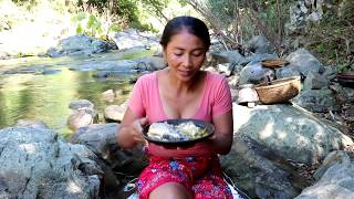 Survival skills: Catch big fish in water by hand for food - Cooking big fish eating delicious #5