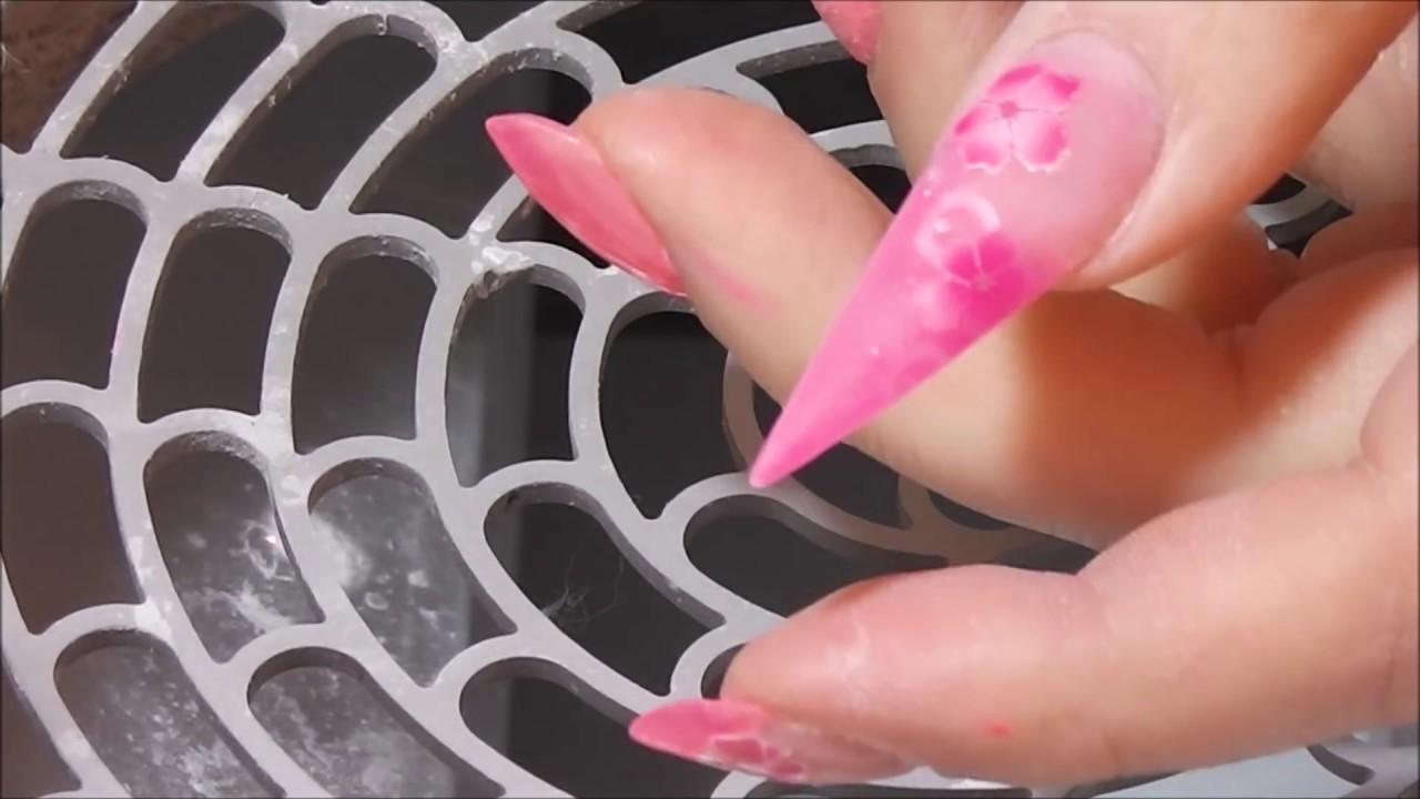 Stiletto Gelnagel Cleardesign Mit Glitzer Und Airbrush Blumen