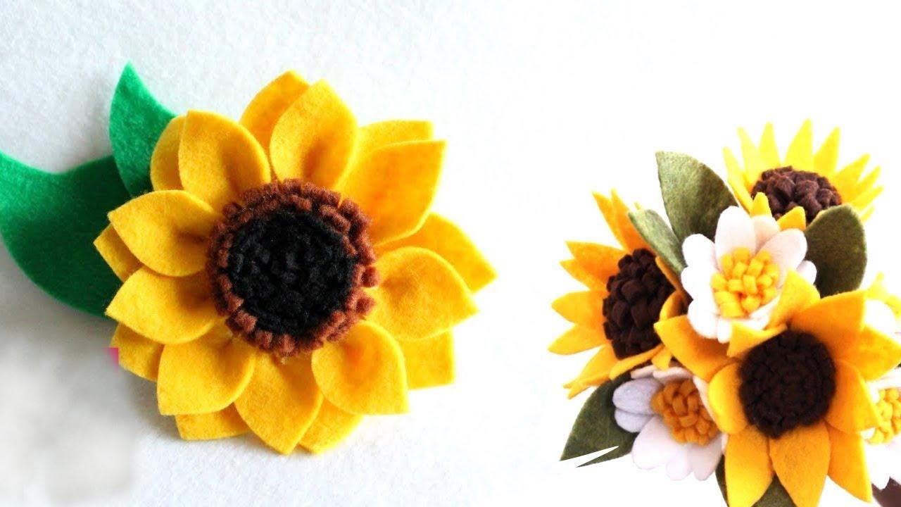 Hướng dẫn làm hoa hướng dương bằng vải nỉ | Làm hoa hướng dương vải nỉ | Đồ chơi mầm non.