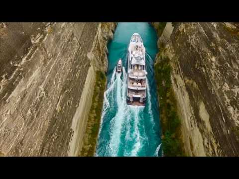 M/Y Gene Machine passing through the Corinth Canal