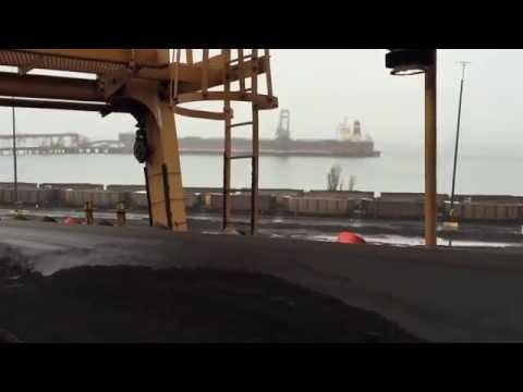 The view from Reclaimer 43's boom conveyor as it digs coal to Westshore Terminals Berth 2.