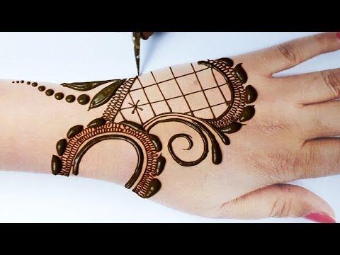 Mehndi Design Easy Trick - आसान गोल टिक्की मेहँदी लगाना सीखे - New Stylish Front Hand Mehndi Design