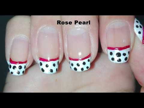 Easy Black Polka Dots On White Nail Art Tutorial- French Manicure (Right Hand Nails) | Rose Pearl