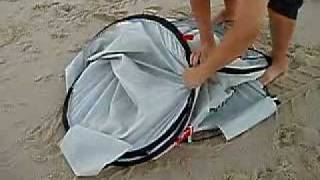 Auto Pop Up Beach Tent Folding , Sun Shade, UV Shelter / How to set up and fold close