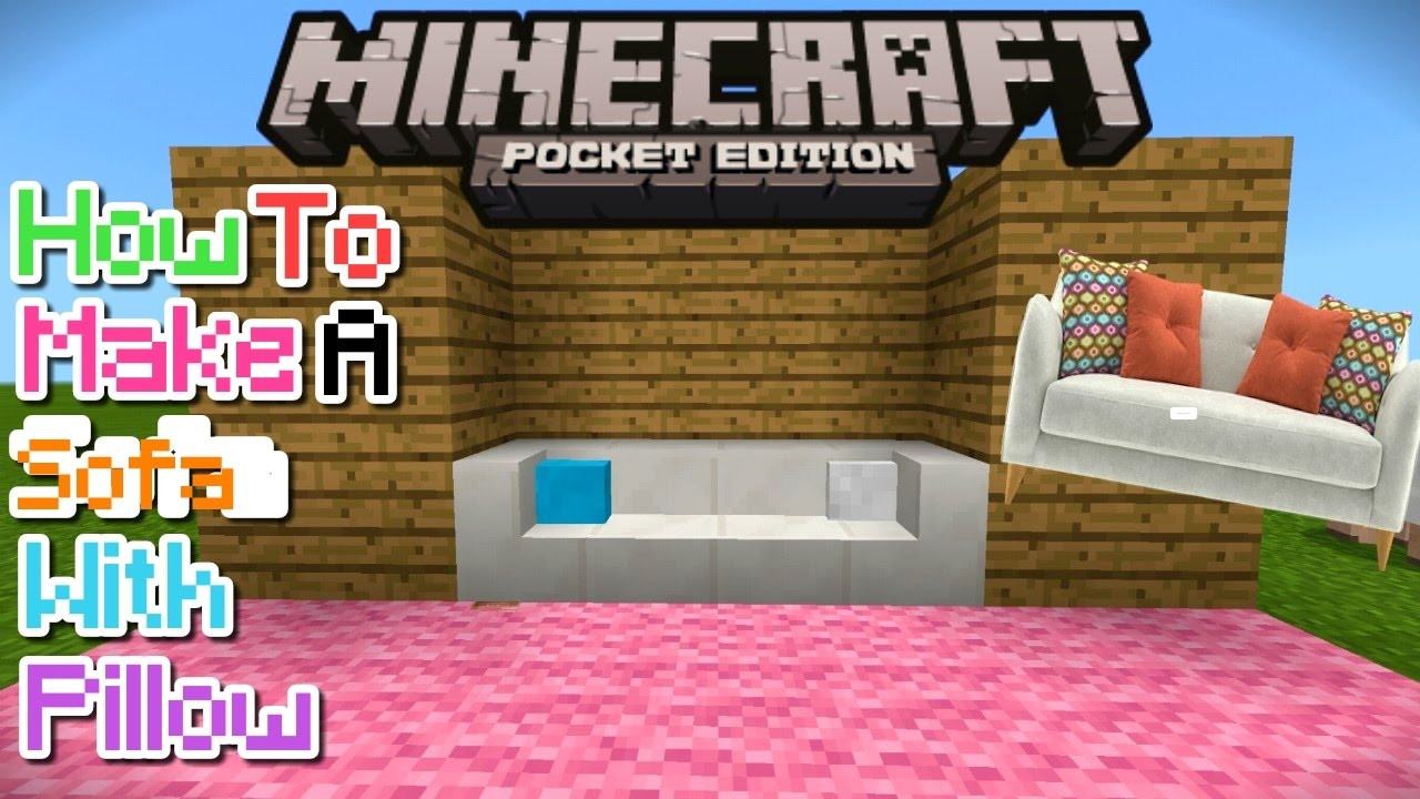 how to make a sofa with pillow in mcpe 1 1 1 0 8 1 0 7 mcpe creation no mods