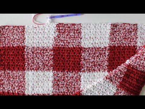 Crochet Red Gingham Blanket Youtube