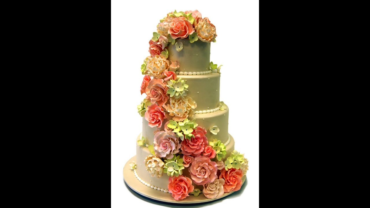Tier Wedding Cakes With Cascading Flowers