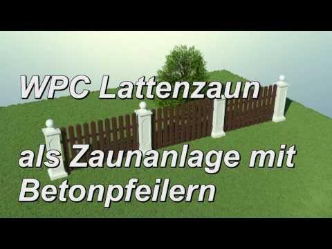 WPC Lattenzaun Zaunsystem Betonpfeiler Sockel Abdeckung Kugel ...