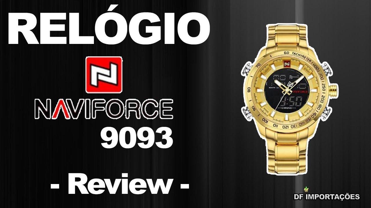 b3965c29a66 Relógio Masculino NAVIFORCE 9093 - DOURADO - REVIEW. - YouTube