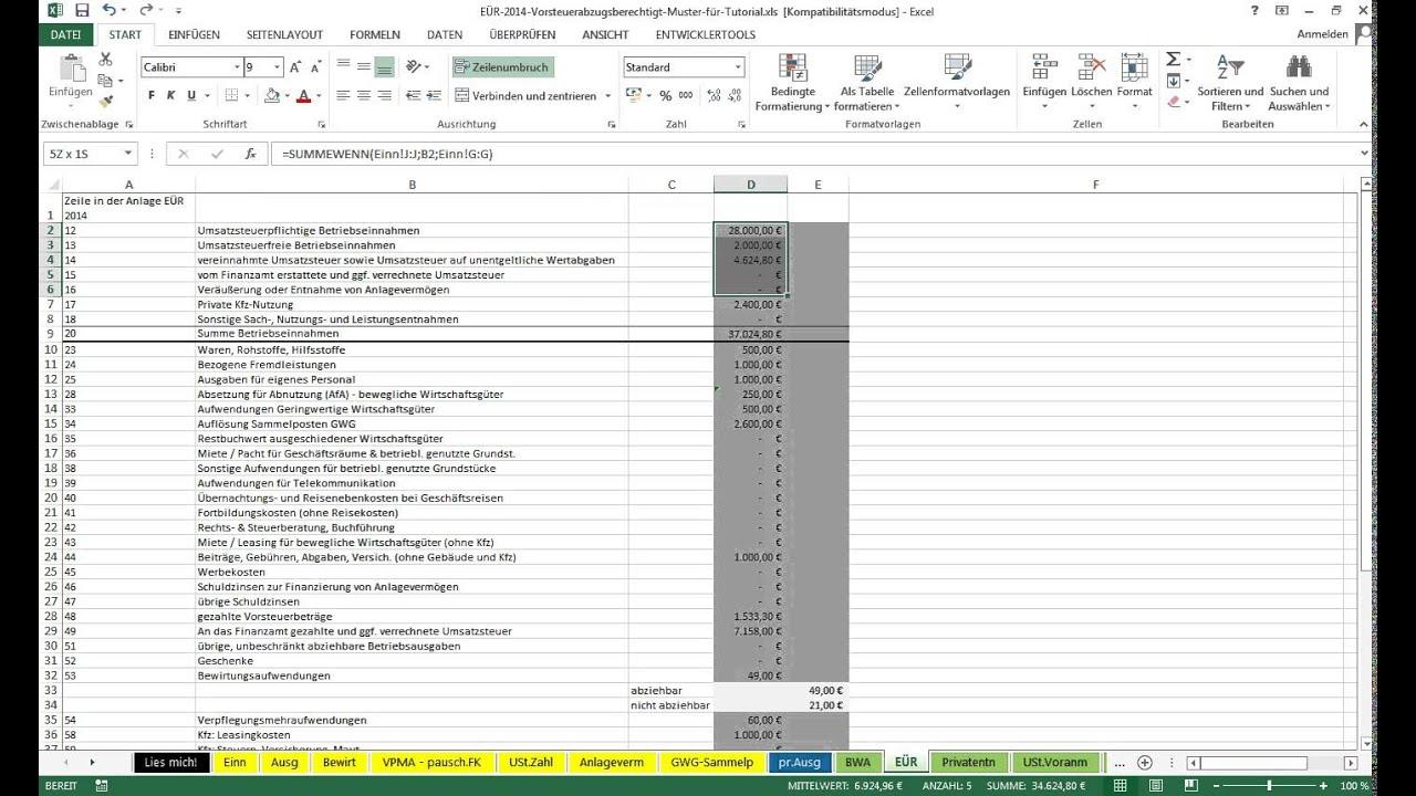 Tutorial: Einnahmearten in Excel-Vorlage EÜR definieren - YouTube