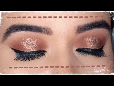 easy copper glitter eye makeup tutorial for beginners