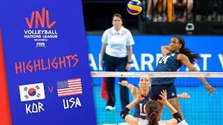 KOREA vs. USA - Game Highlights Women   Week 3   Volleyball Nations League 2019