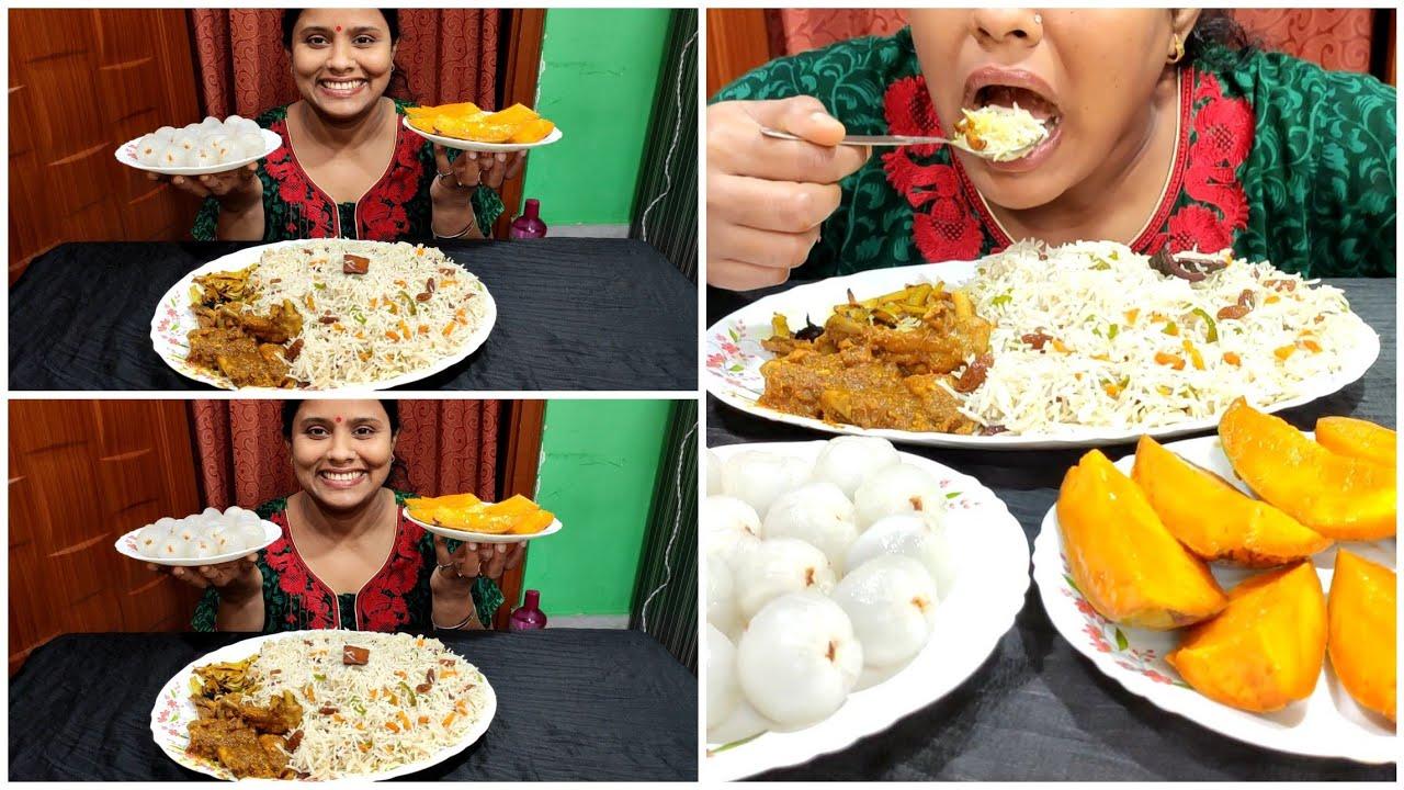 Eating A full dish of Fried Rice with Chicken Kosha,Mango and Lichi|Mukbang Eating Show 🤤
