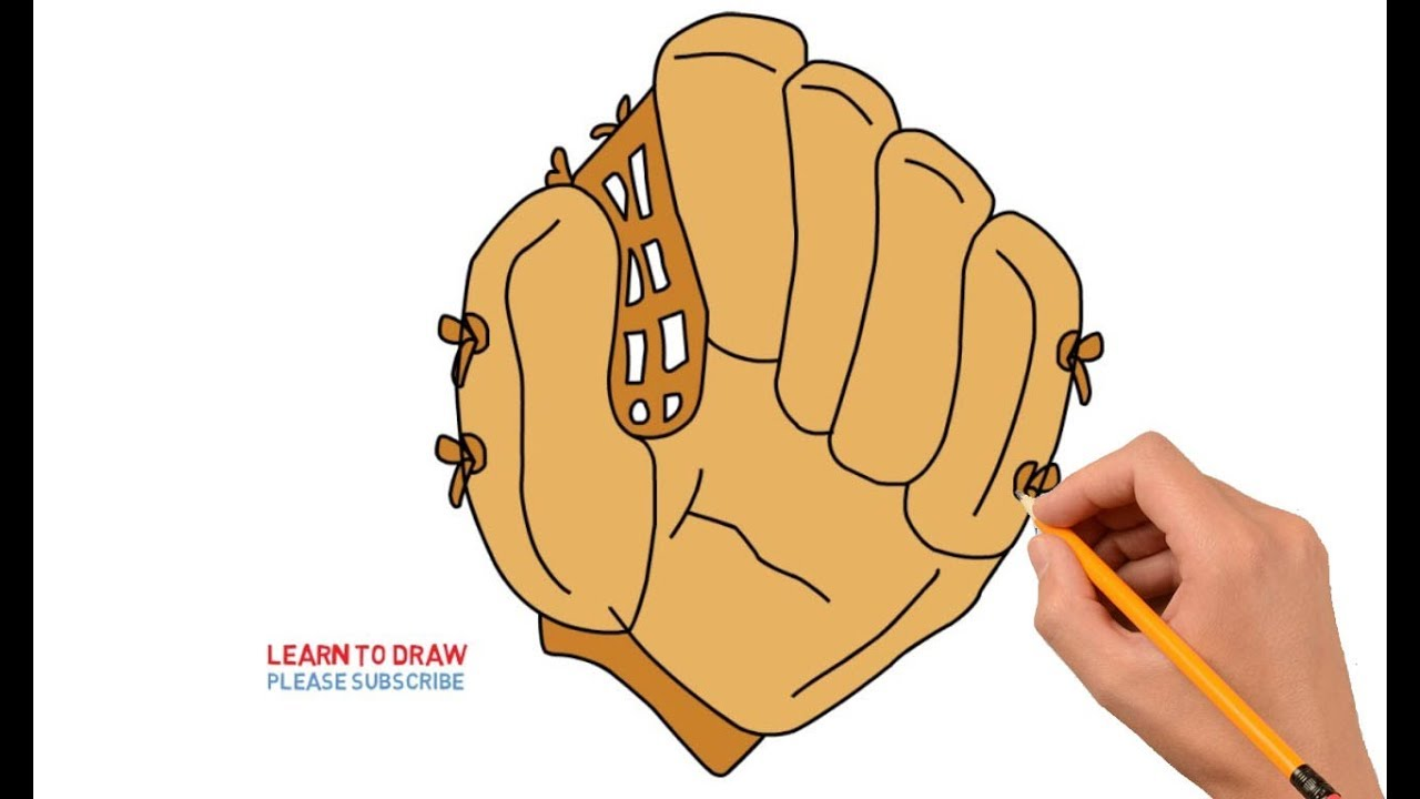 How To Draw a Baseball Glove Step by Step Easy - YouTube