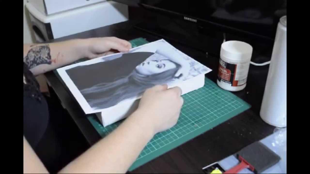 DIY canvas photo transfer using gel medium - YouTube