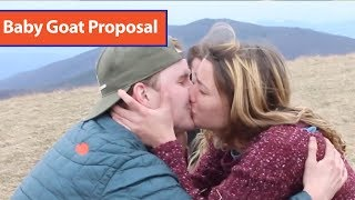Guy Proposes to Girlfriend with Baby Goat