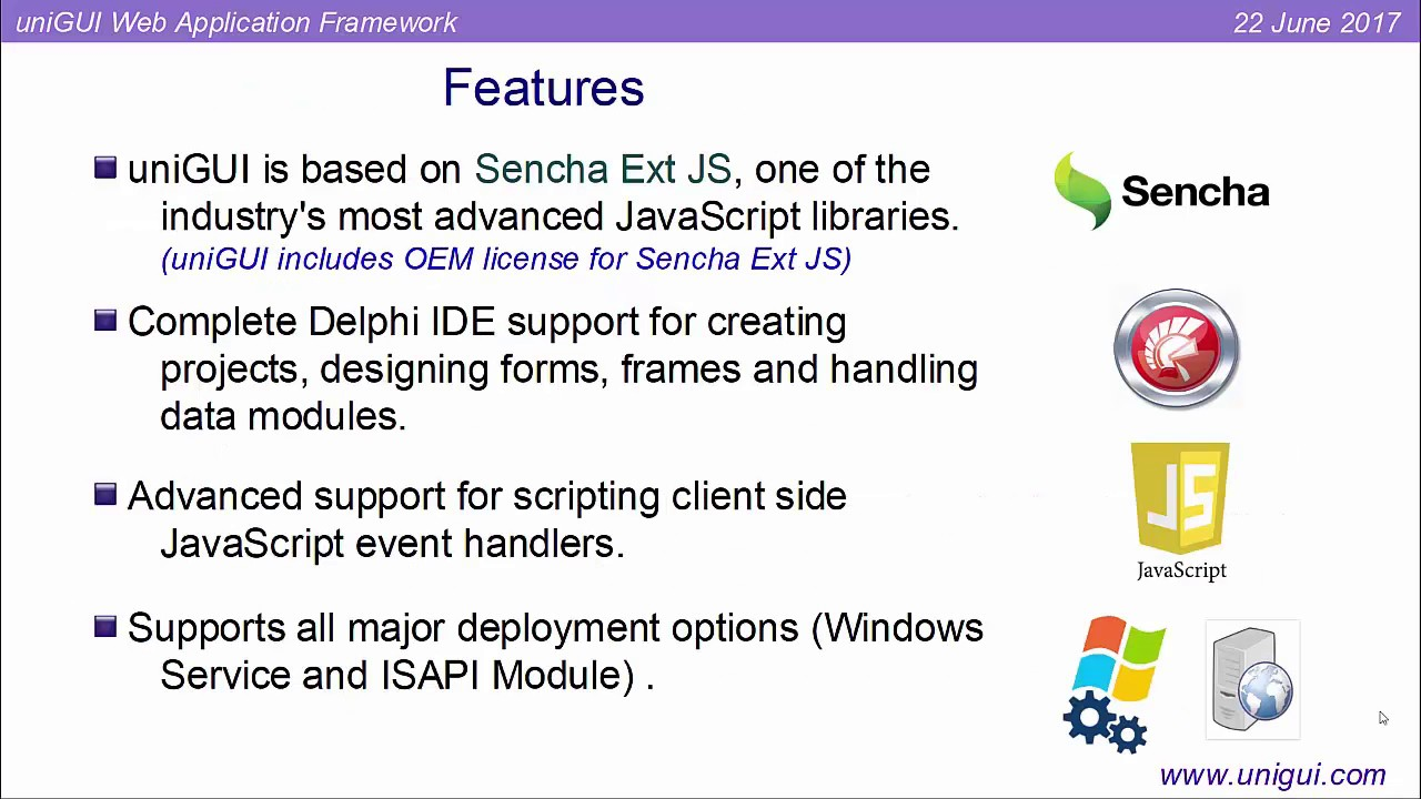 UniGUI Web Application Development with Delphi + Sencha ExtJS