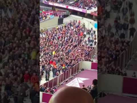 West Ham Fans protest during 3-0defeat Burnley aimed at David Sullivan and David Gold London Stadium