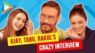 Ajay, Rakul & Tabu Interview | Crazy Rapid Fire | Rocking Quiz | Akshay | Kajol | De De Pyaar De