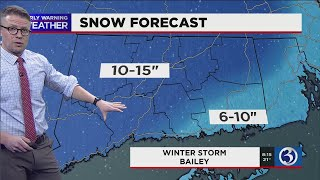 FORECAST: Snowfall totals starting to come in from Winter Storm Bailey