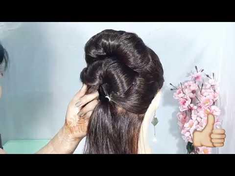 Easy Bun hairstyle for lahnga || trending hairstyle || hairstyles for girls || wedding hairtsyles thumbnail