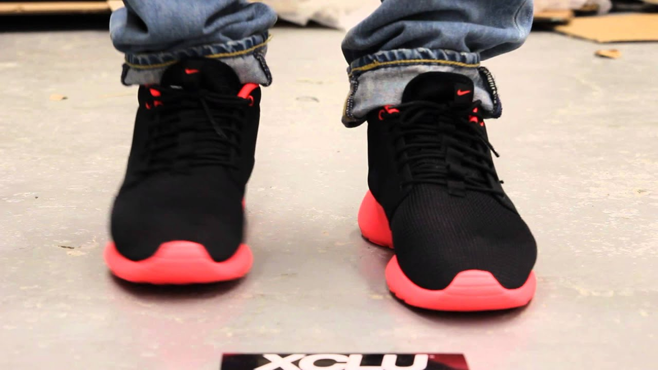 4db6d0a40377 ... netherlands nike rosherun mid atomic red on feet video at exclucity  youtube eb438 bbd25