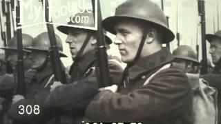 1936 BELGIUM: KING LEOPOLD REVIEWS TROOP MANEUVERS AND TRAINING