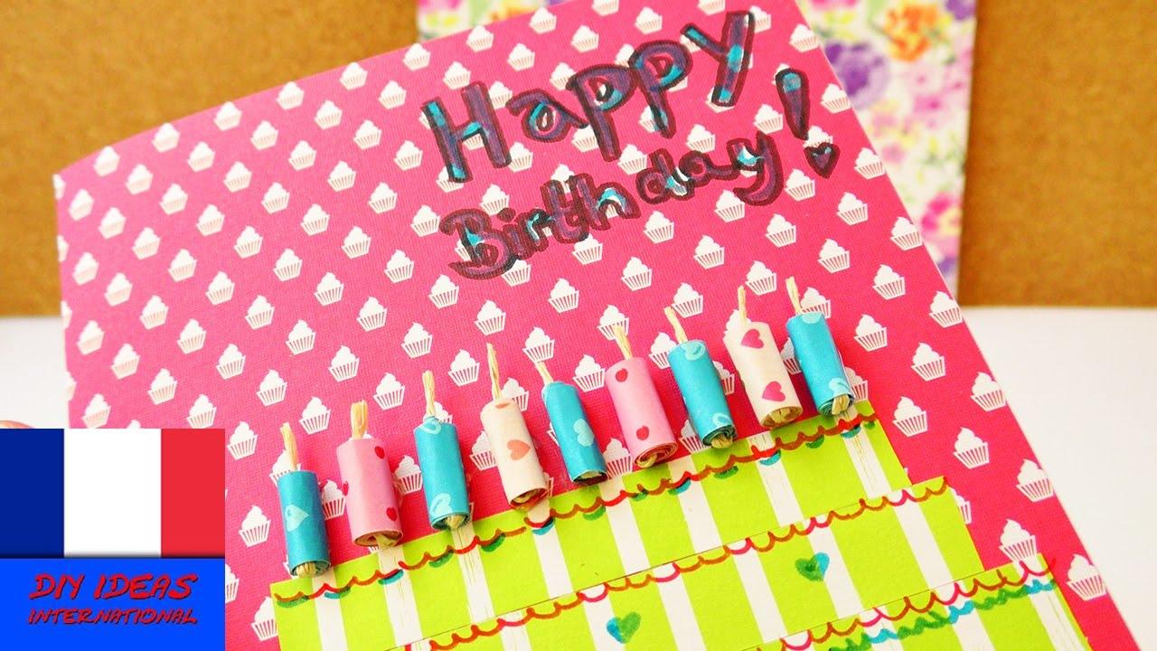Happy Birthday Diy Carte D Anniversaire Soi Meme Super Carte En Papiers Colores Gateau Youtube