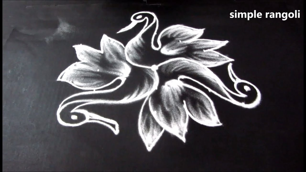 Simple and creative rangoli designs birds kolam designs for Creative simple