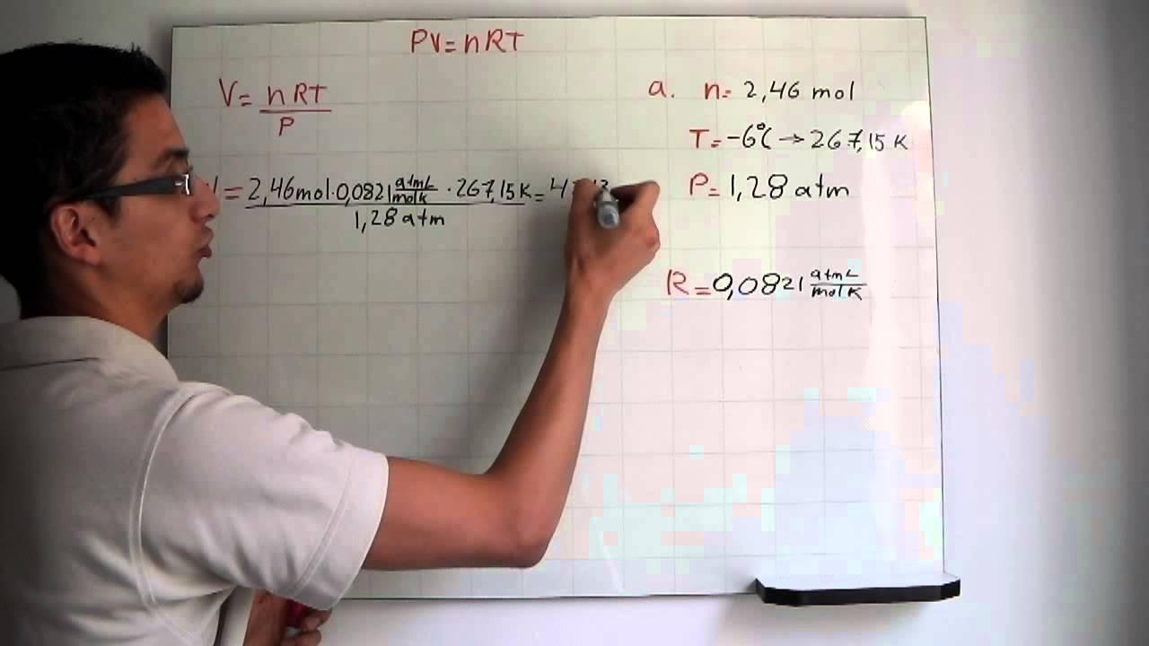 Ecuación de estado de los gases ideales PV=nRT-Equation of state for ideal gases