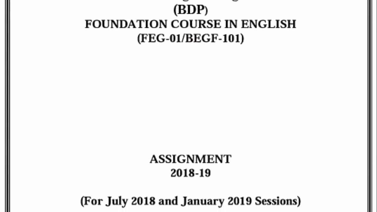 FEG-01/BEGF-101 (2018-19) SOLVED ASSIGNMENT - YouTube