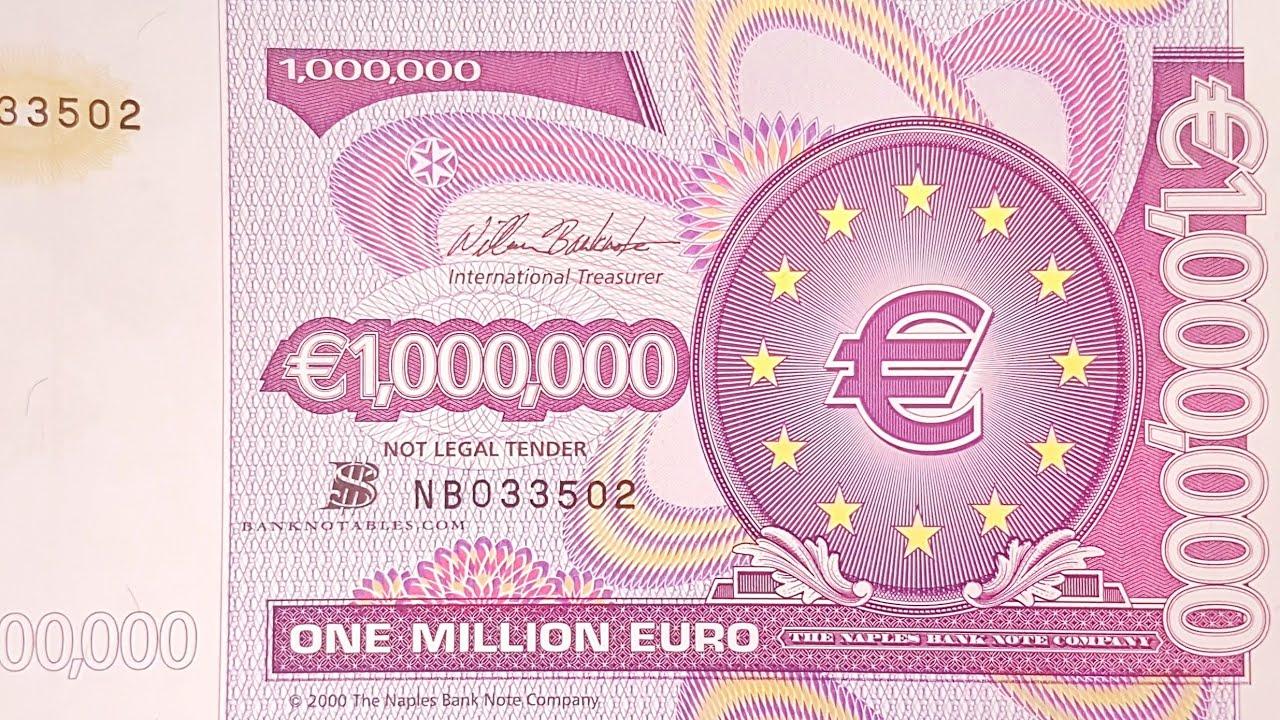 One Million Euro Bank Note Bill  E 1 Millionen