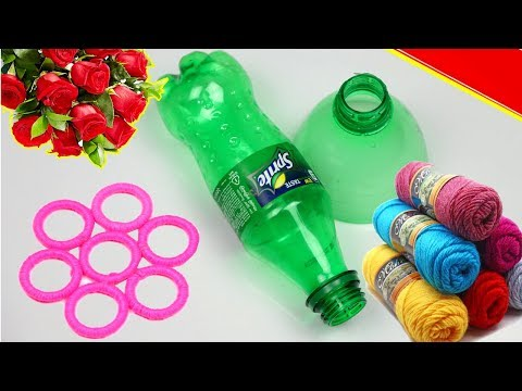 How To Make Beautiful Flower Vase Using Empty Plastic Bottle | Waste Material DIY arts and crafts
