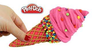 Play Doh пластилин: Лепим Мороженое Розового Цвета. Поделки из пластилина Плей До. Игрушки +1