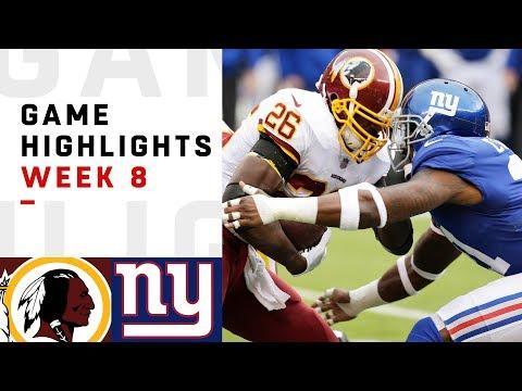 Redskins vs. Giants Week 8 Highlights | NFL 2018