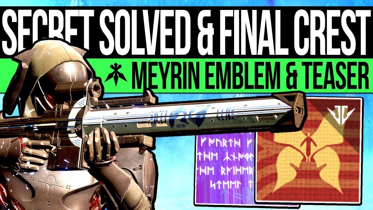Destiny 2 | PUZZLE SOLVED & SECRET FORGE EMBLEM! Crests Activated, Secret  Message & Meyrin's Vision