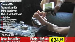 auvisio Stereo-FM-Transmitter für MP3-Musik von USB- & SD-Card Slot