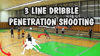 3 man continuous drive & kick penetration shooting