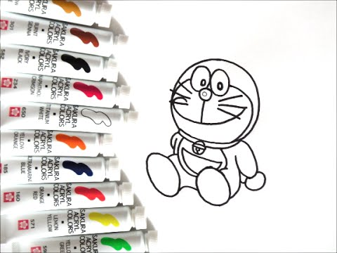 ドラえもんキャラクター 座っているドラえもんの描き方 How To Draw