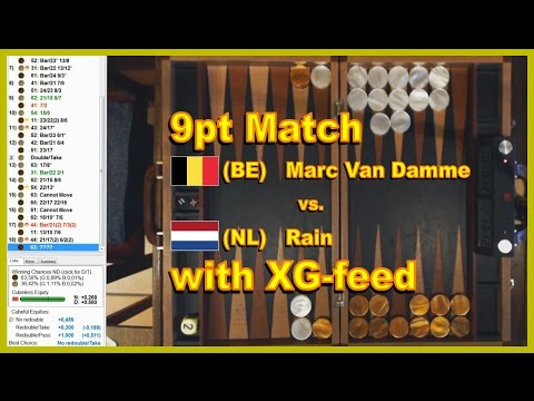 Backgammon - Rain vs Marc Van Damme - 9pt match (XG feed)