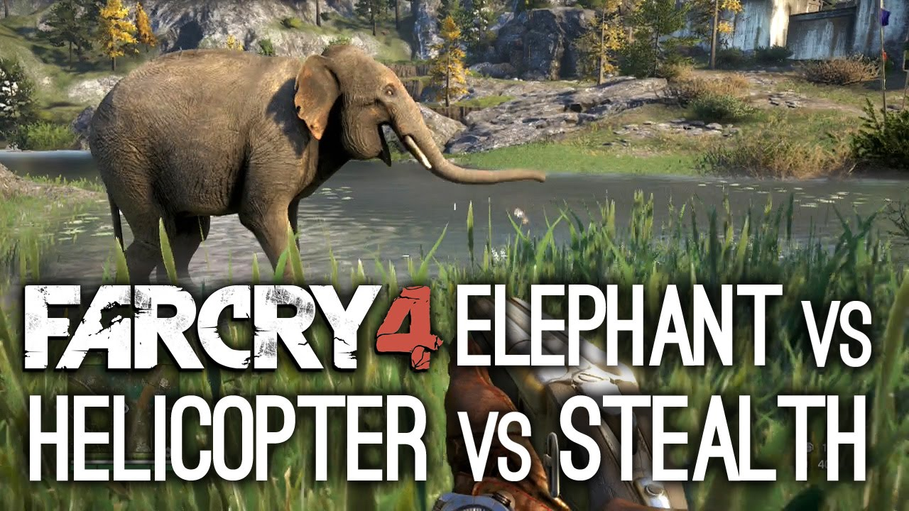 Far Cry 4 Gameplay Elephant Vs Helicopter Vs Stealth Youtube