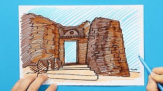 How to draw and color Shivaji Forts - Sinhagad