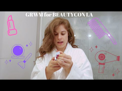 GRWM for BEAUTYCON LA | morning skincare, makeup & hair routine thumbnail
