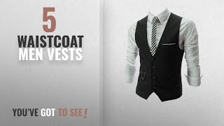 Top 10 Waistcoat Men Vests [Winter 2018 ]: PXS Vest V-Neck Sleeveless Slim Fit Jacket Men Business