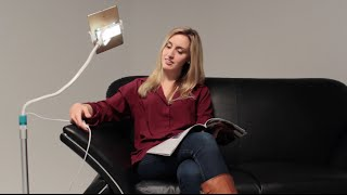 2 in 1 flexible floor stand led lamp and mount for tablets and smartphones