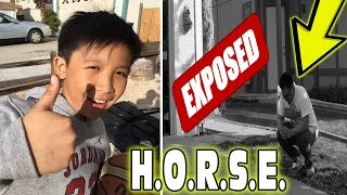 Exposed by little kid! playing horse vs subscriber! first irl basketball vid