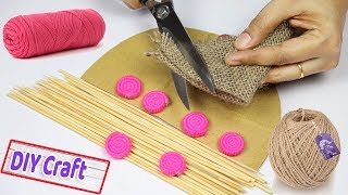 Craft ideas with jute | Jute craft making tutorial for home decor | Jute art and craft