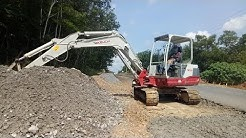 Excavator Takeuchi TB250 Working For New Road Construction - Excavator Video
