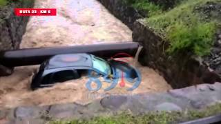 Video: Durante la tormenta, auto derrapó en un canal de Ruta 23, Km 8 (R.de Lerma)